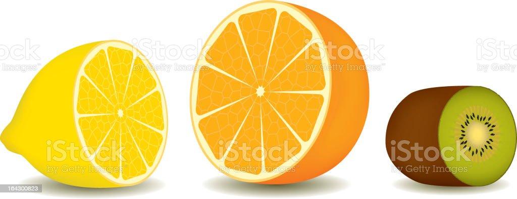 lemon, orange and kiwi vector art illustration