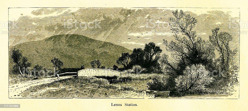 Lenox, Massachusetts | Historic American Illustrations royalty-free stock vector art