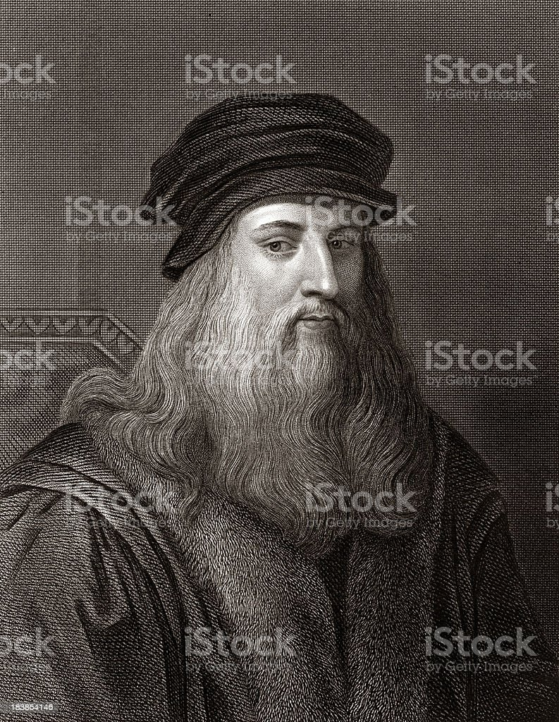 Leonardo da Vinci (Sepia toned) royalty-free stock vector art