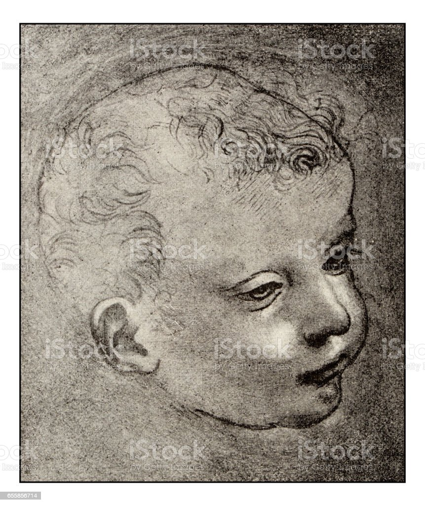 Leonardo's sketches and drawings: Baby John the Baptist vector art illustration