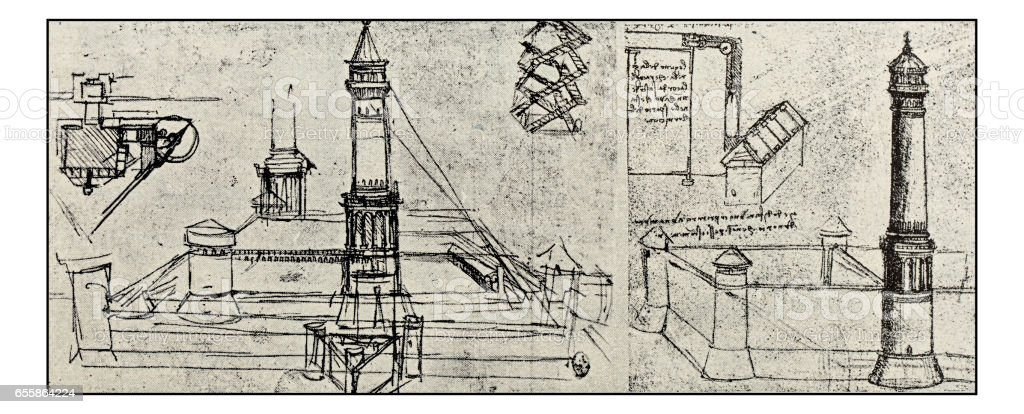 Leonardo's sketches and drawings: Lighthouse project vector art illustration