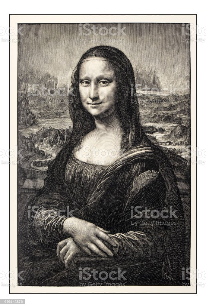 Leonardo's sketches and drawings: Mona Lisa (La Gioconda) vector art illustration