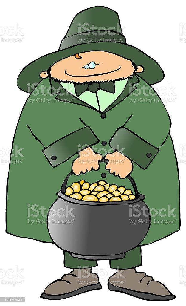 Leprechaun With A Pot Of Gold royalty-free stock vector art