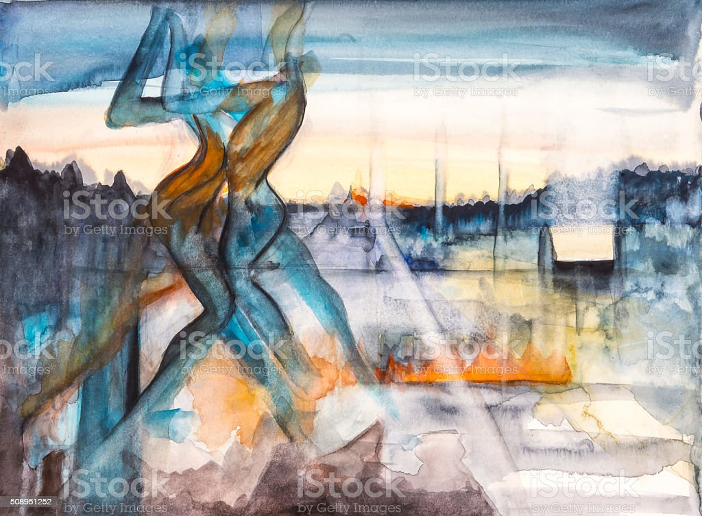 Les Danseurs vector art illustration