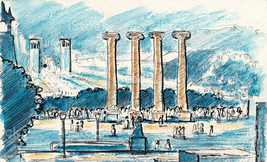 Les Quatre Columnes Font Magica Barcelona Drawing vector art illustration