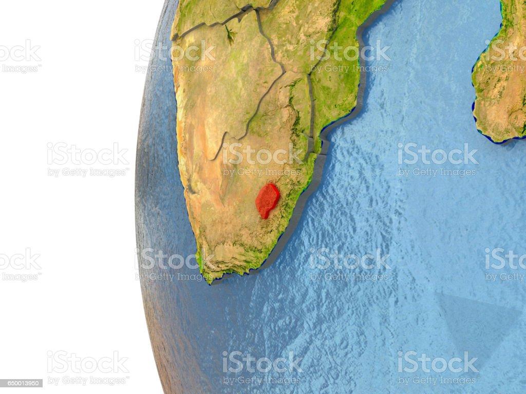 Lesotho in red vector art illustration
