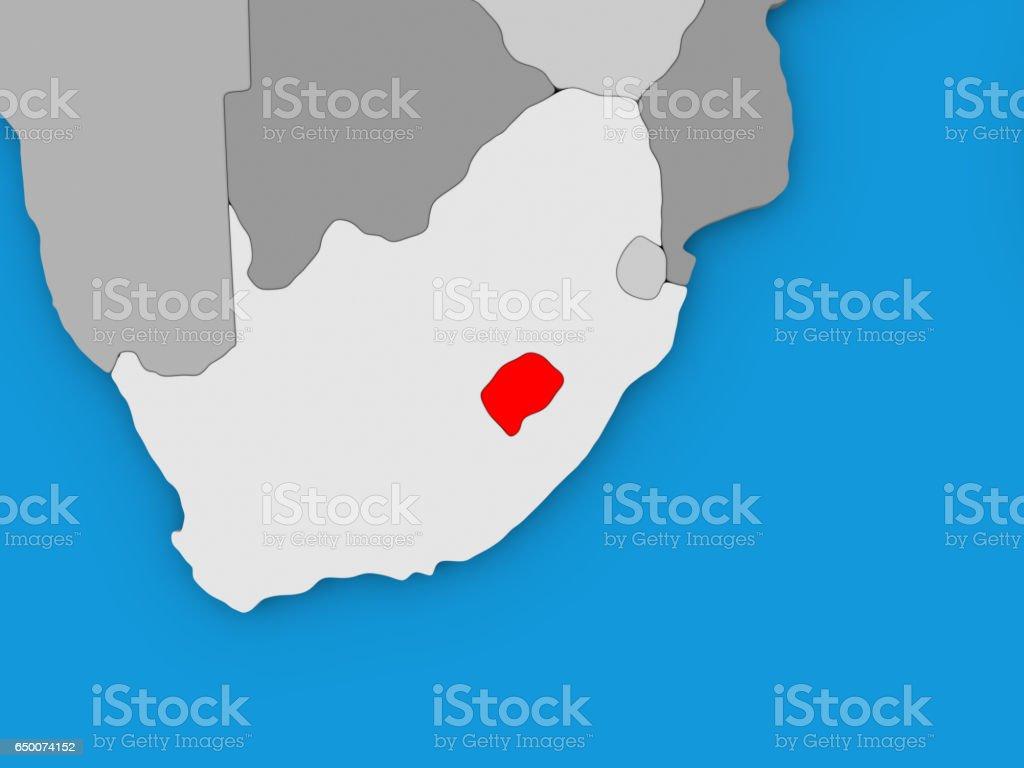 Lesotho in red on globe vector art illustration