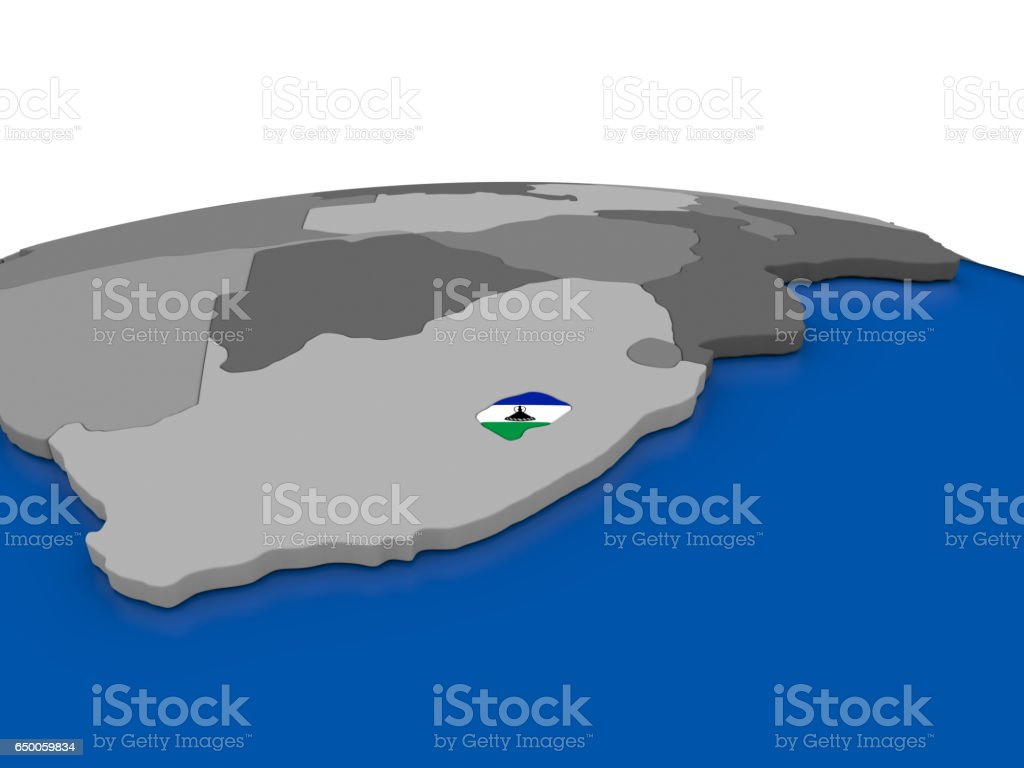 Lesotho on 3D globe vector art illustration