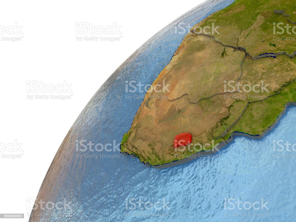 Lesotho on Earth vector art illustration