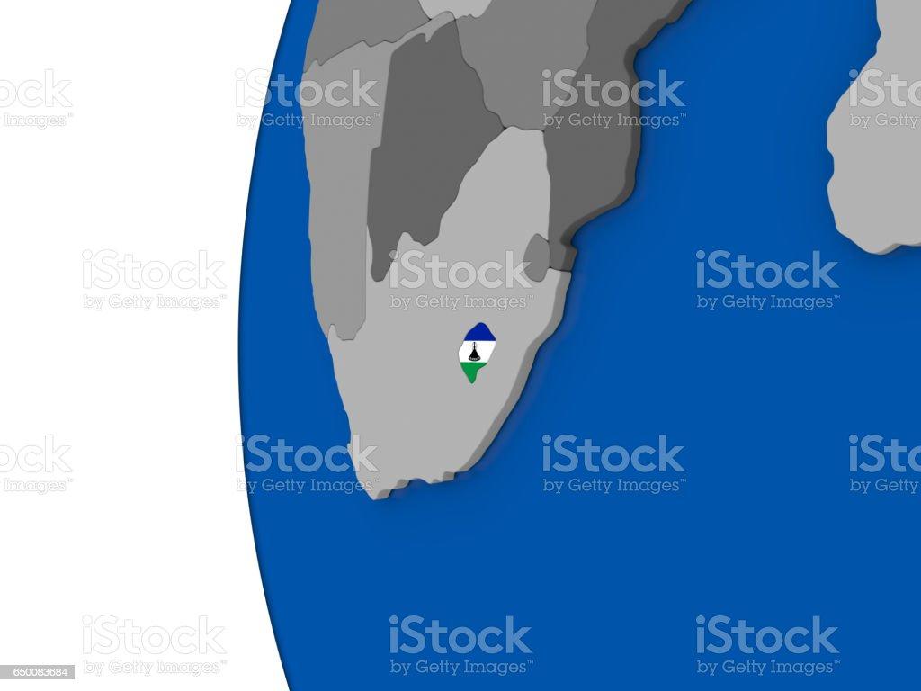 Lesotho on globe vector art illustration