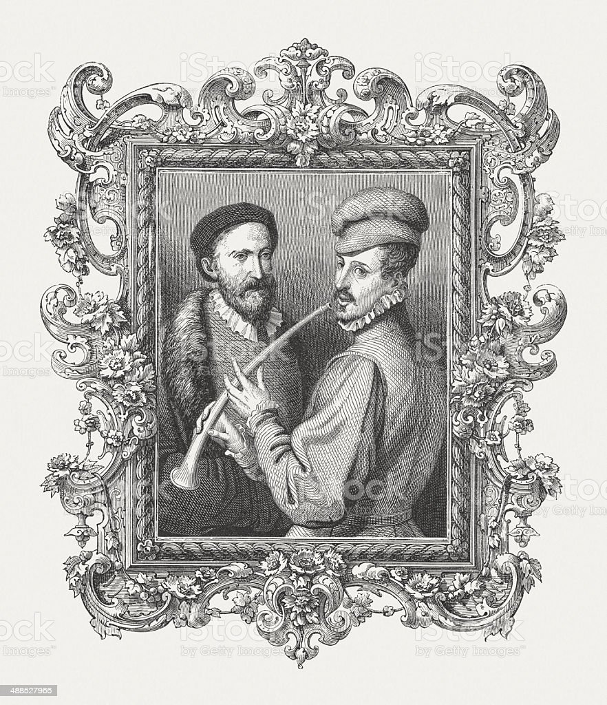 Lesson on the Flute, published in 1878 vector art illustration