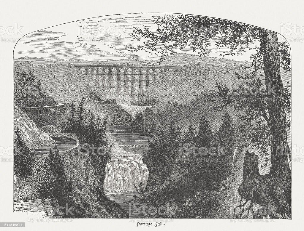 Letchworth State Park; Portage Falls, USA, wood engraving, published 1880 vector art illustration