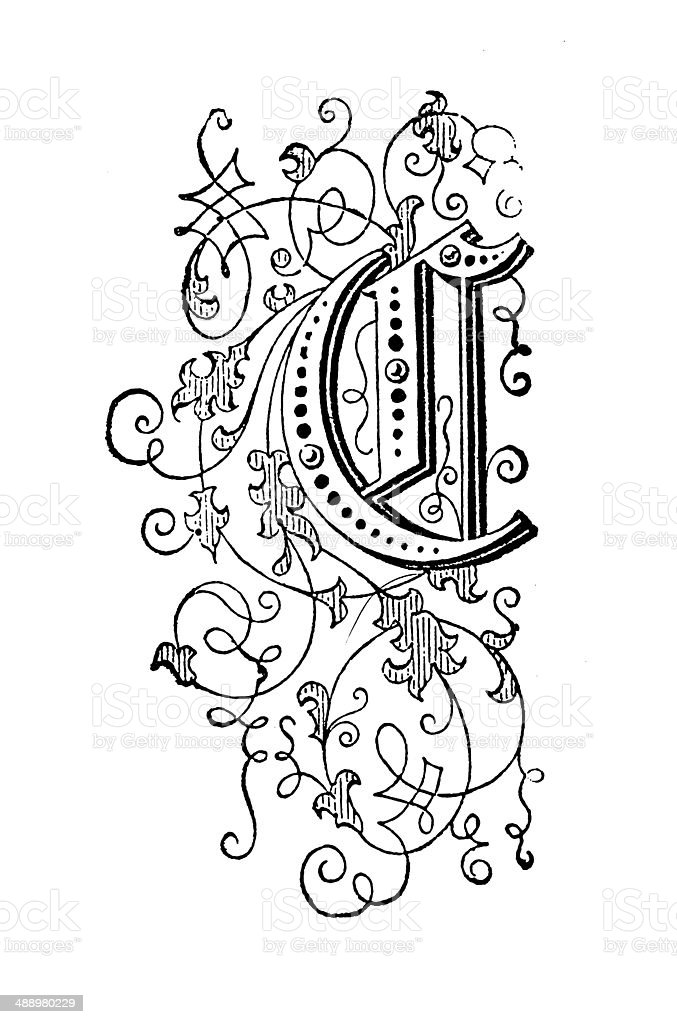Letter C (antique engraving) royalty-free stock vector art