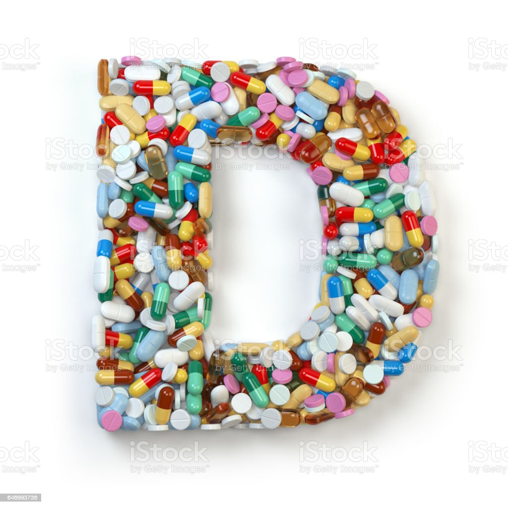Letter D. Alphabet medicine pills, capsules isolated on white. vector art illustration