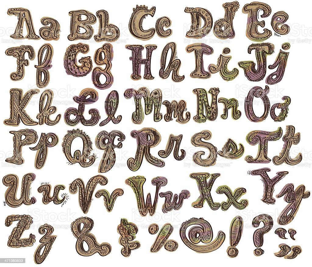 Letters of alphabet set vector art illustration