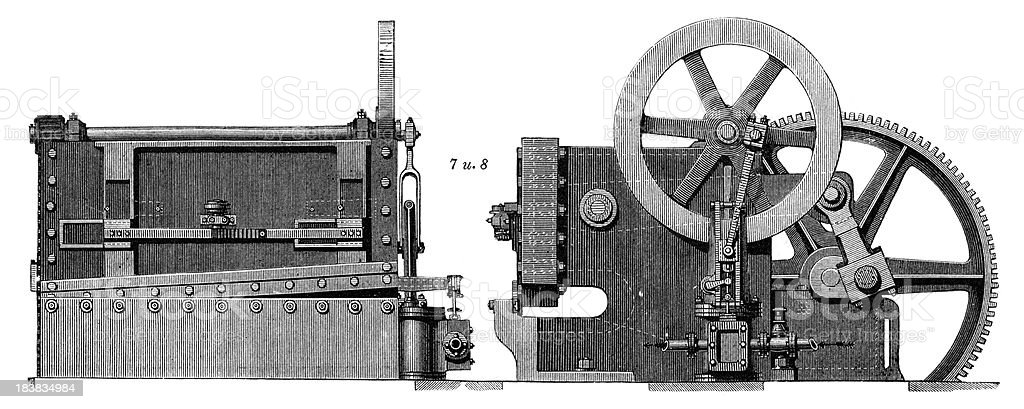 Lever shears or sheet metal punch - Industrial Revolution Machinery vector art illustration