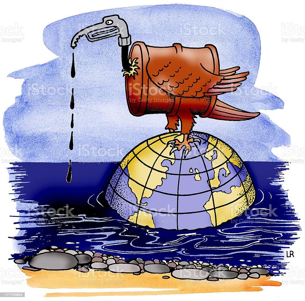 Ölfass mit Geierkopf steht auf Weltkugel royalty-free stock vector art