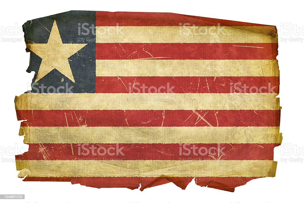 Liberian Flag old, isolated on white background royalty-free stock vector art