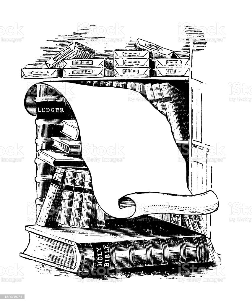 Library | Early Woodblock Illustrations vector art illustration