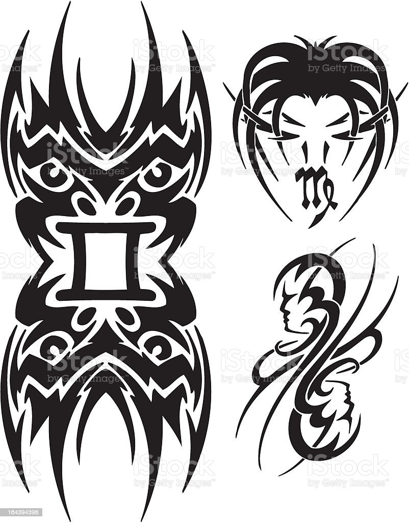 Libras, the Virgo and Twins. Tribal clipart. royalty-free stock vector art