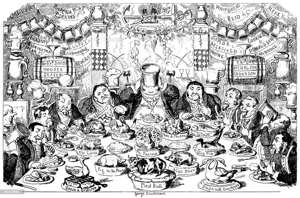 Licensed victuallers' dinner vector art illustration