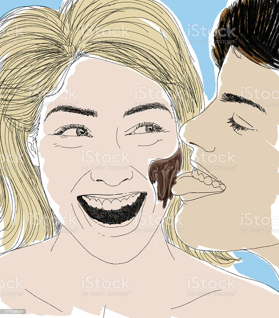 Licking her chocolate vector art illustration