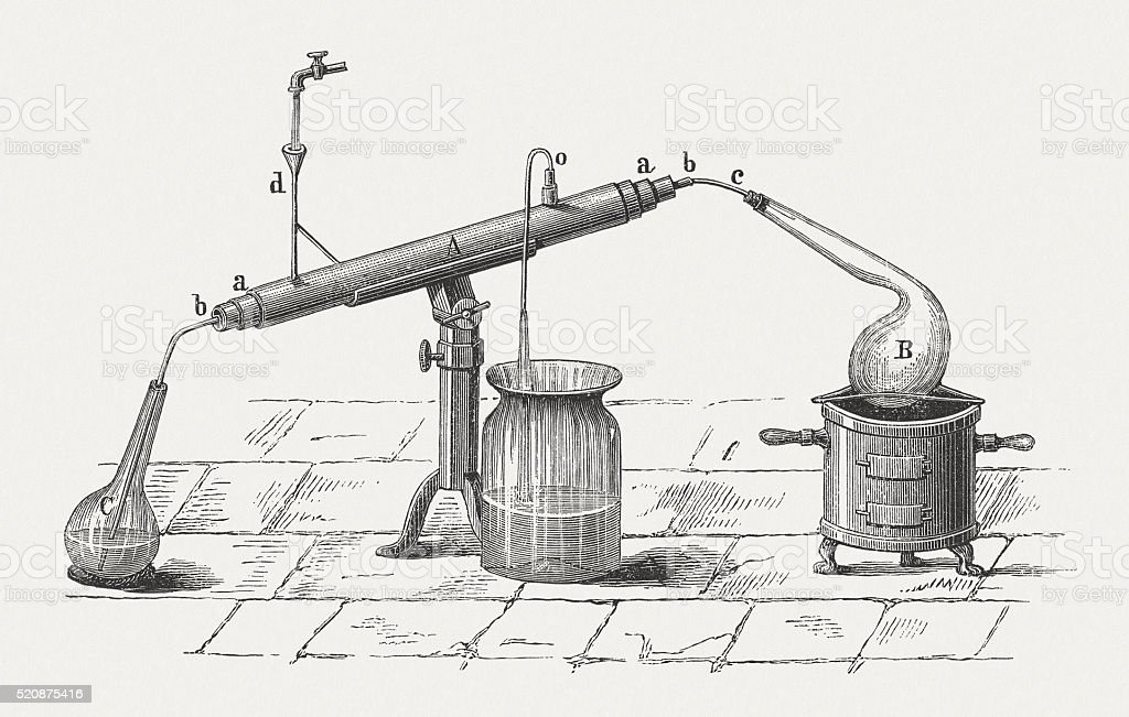Liebig condenser, wood engraving, published in 1880 vector art illustration