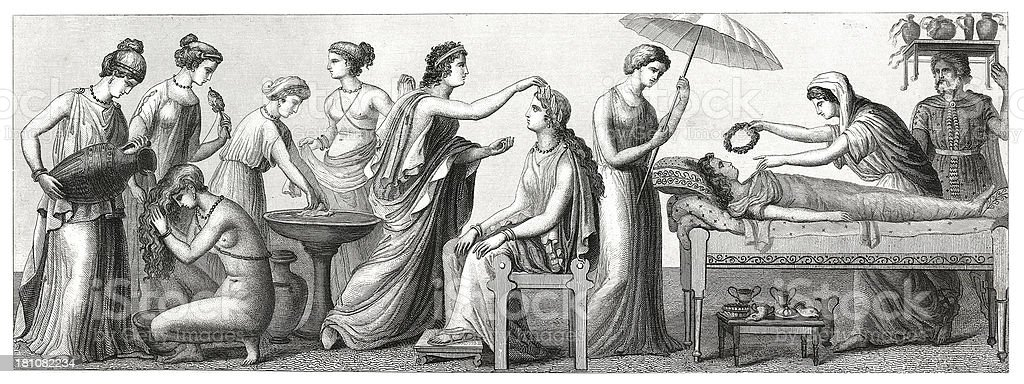 Life and people in ancient Greece (antique wood engraving) royalty-free stock vector art