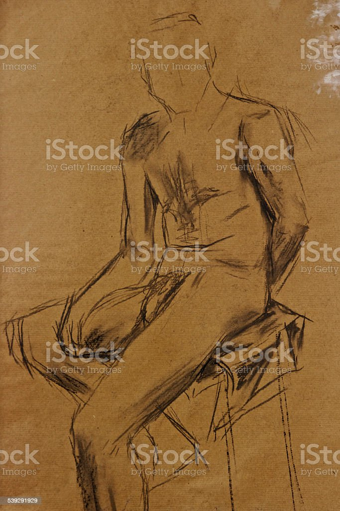 Life Drawing Man in Charcoal vector art illustration