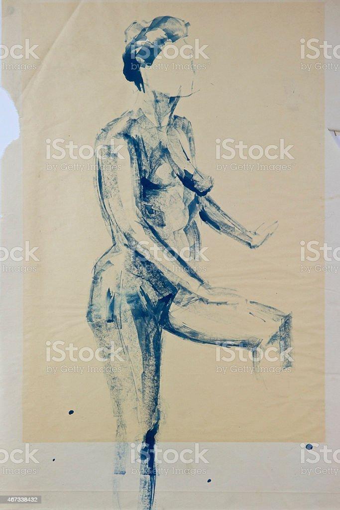 Life Drawing Woman standing vector art illustration