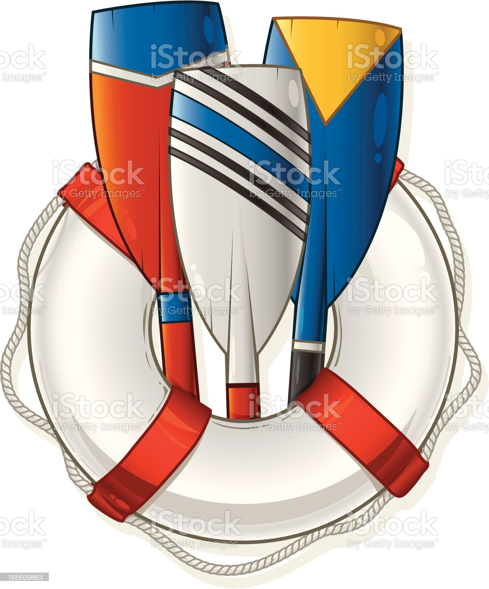 Life Preserver and Oars royalty-free stock vector art