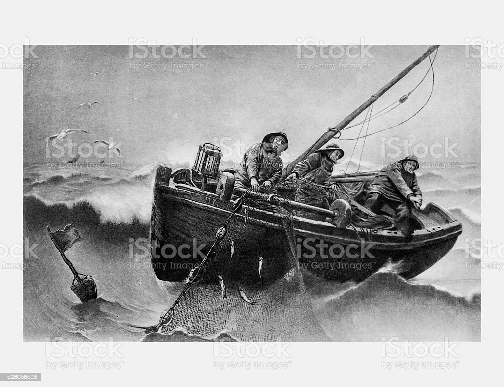 Lifting The Nets The Herring Fishers by Haquette vector art illustration
