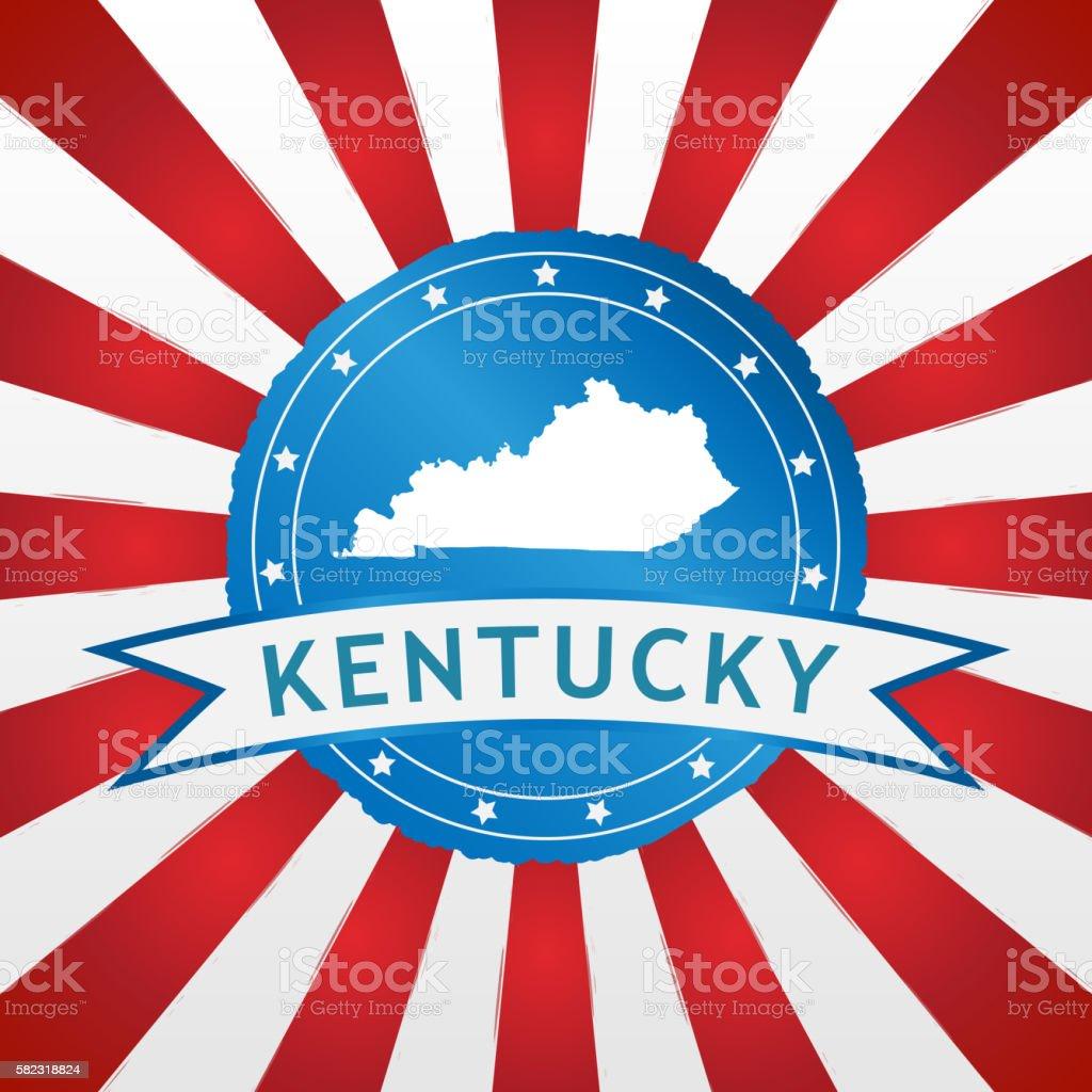 Light blue Kentucky badge on retro red white striped background vector art illustration