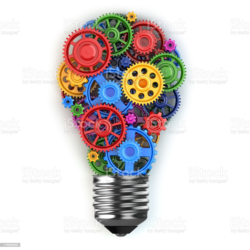 Light bulb and gears. Perpetuum mobile idea concept. vector art illustration