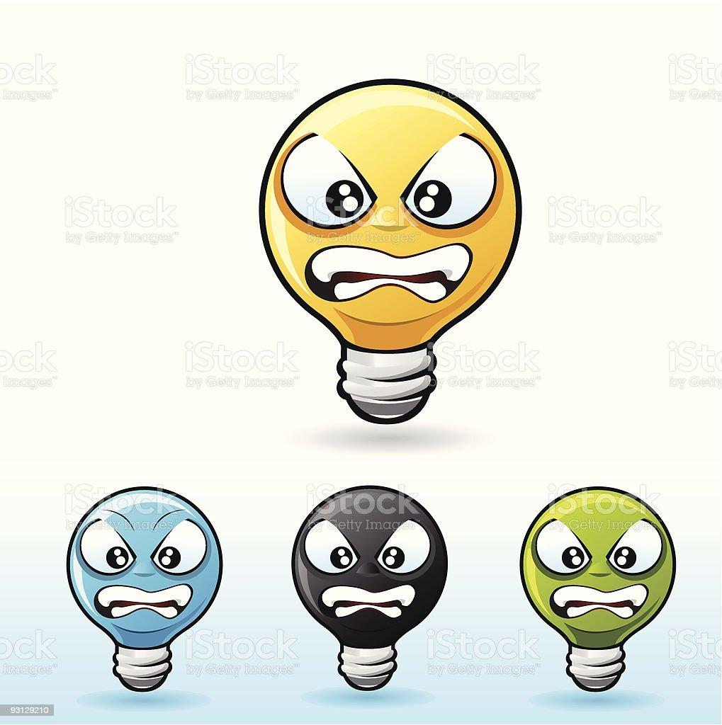 Light bulb character: Angry royalty-free stock vector art