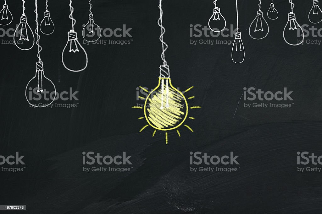 Light Bullb on blackboard vector art illustration
