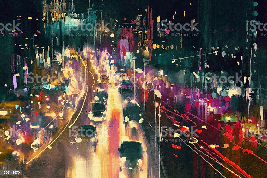 light trails on the street at night vector art illustration