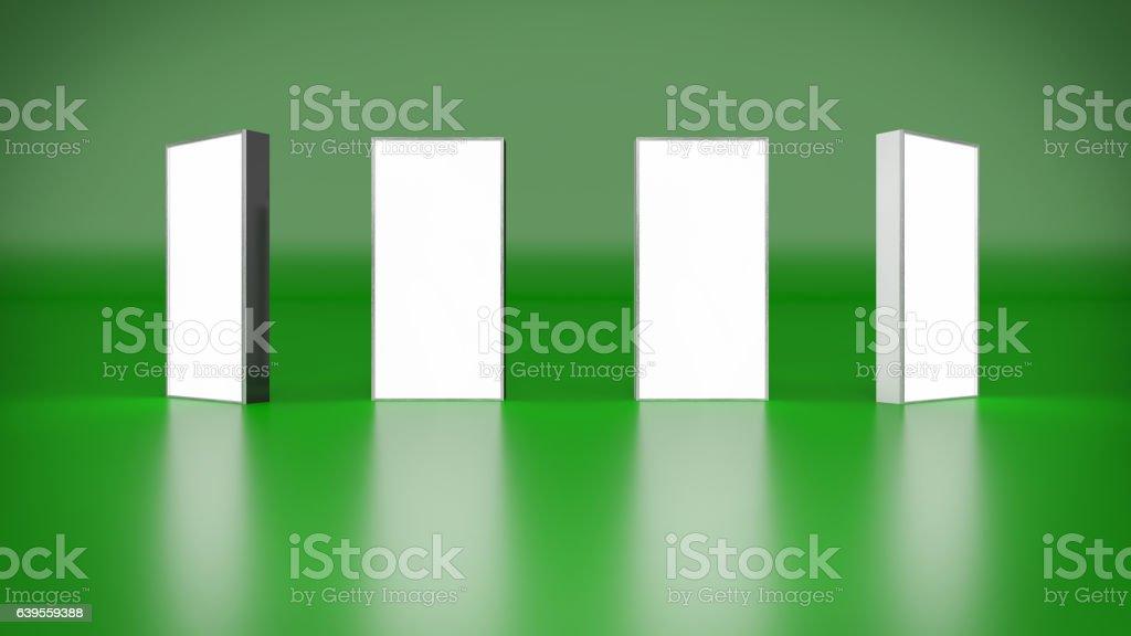 Lightbox On Green Background 3D rendering vector art illustration