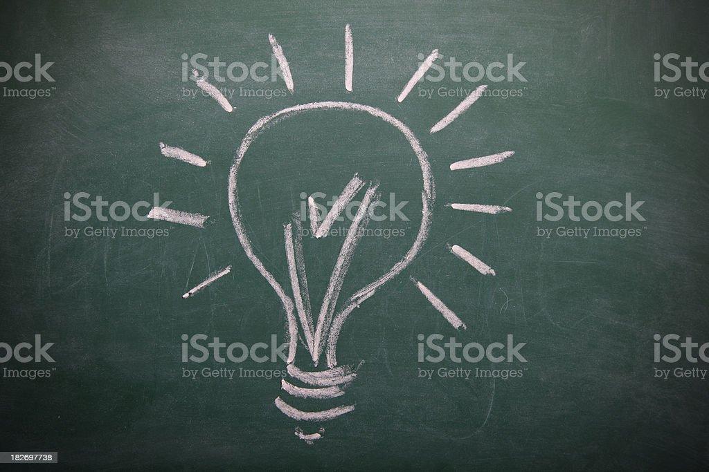 Lightbulb on a blackboard royalty-free stock vector art