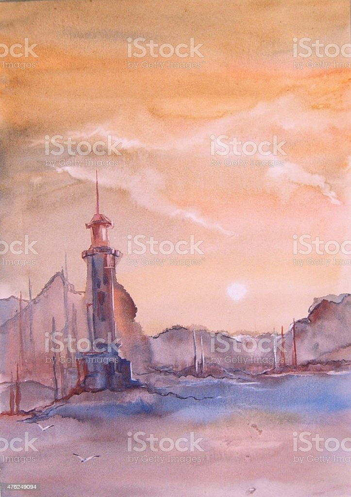 Faro sul mare Dipinto ad acquerelli illustrazione royalty-free