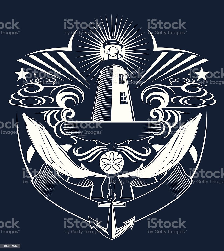 Lighthouse Crest vector art illustration