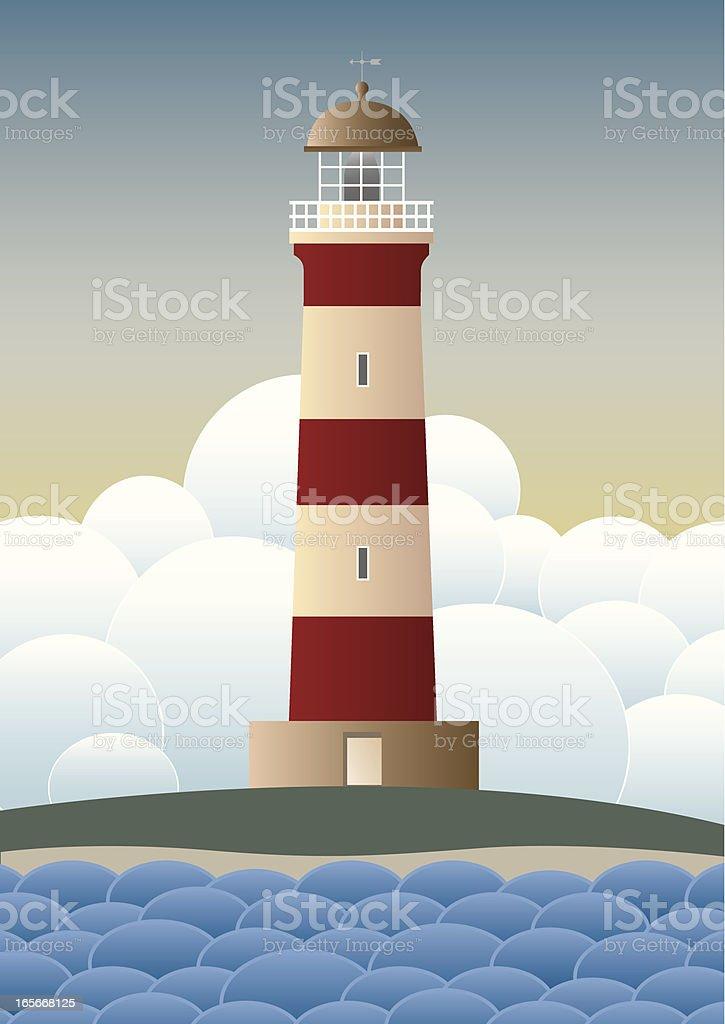 Lighthouse in Daytime vector art illustration
