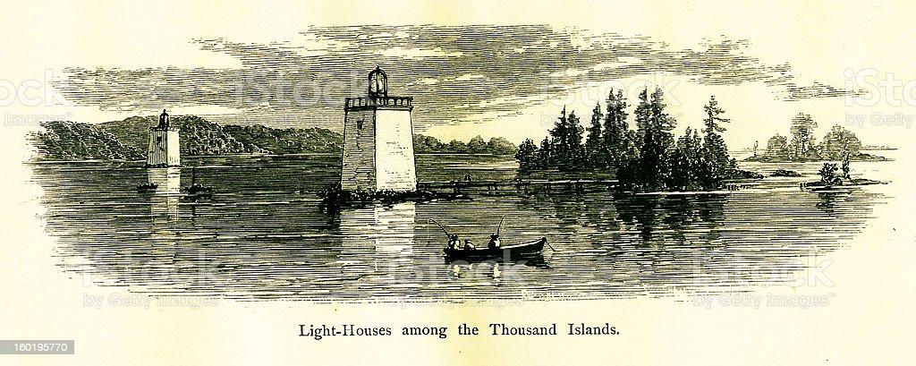 Lighthouses among the Thousand Islands, USA vector art illustration