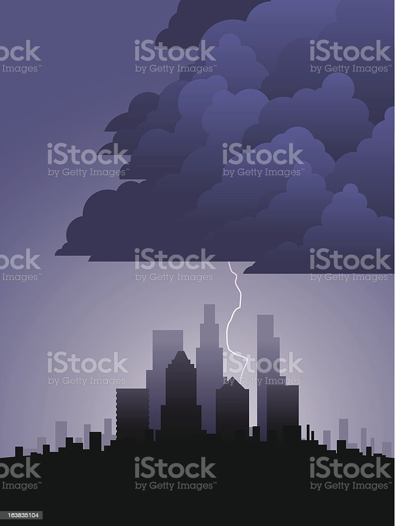 Lightning in the city royalty-free stock vector art