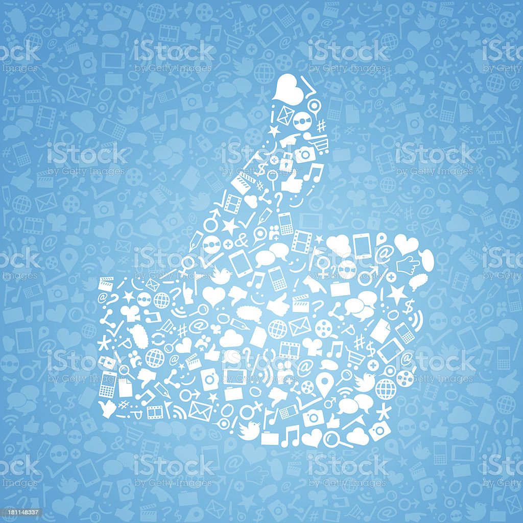 Like social media, icons arranged in shape of thumb up royalty-free stock vector art