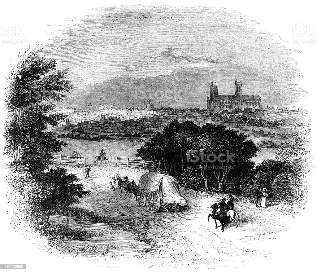 Lincoln Cathedral from the South (Engraved illustration) vector art illustration