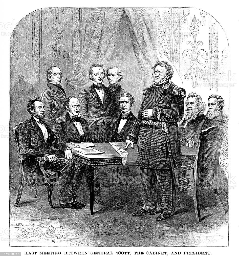 Lincoln Meeting with his Cabinet - Antique Engraving royalty-free stock vector art
