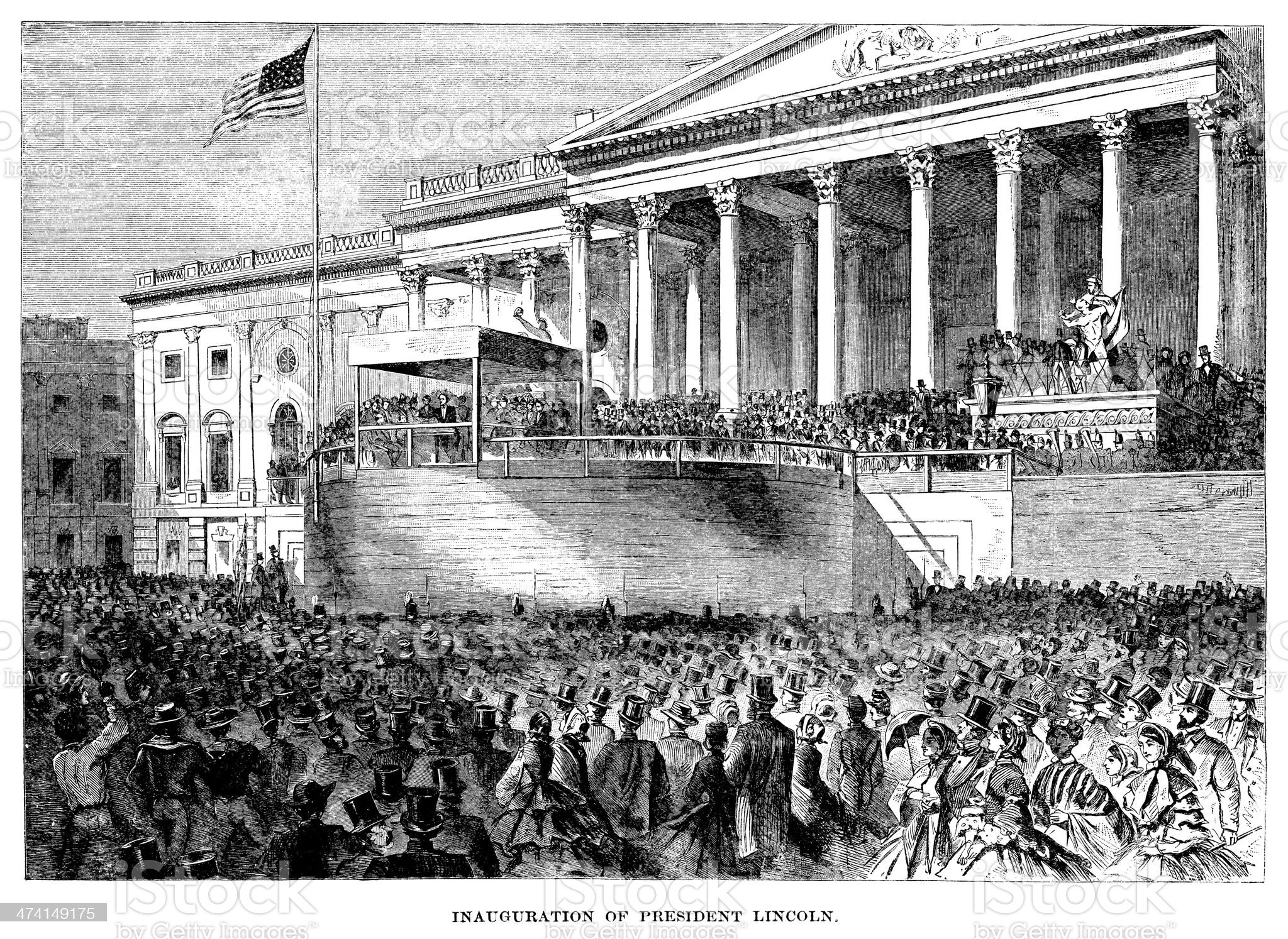 Lincoln's Inauguration - Antique Illustration royalty-free stock vector art