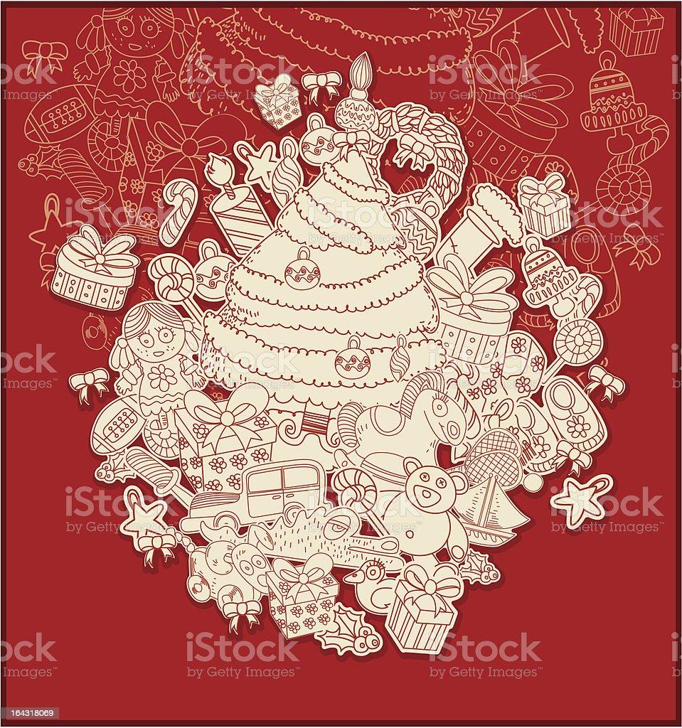 line drawing christmas theme royalty-free stock vector art