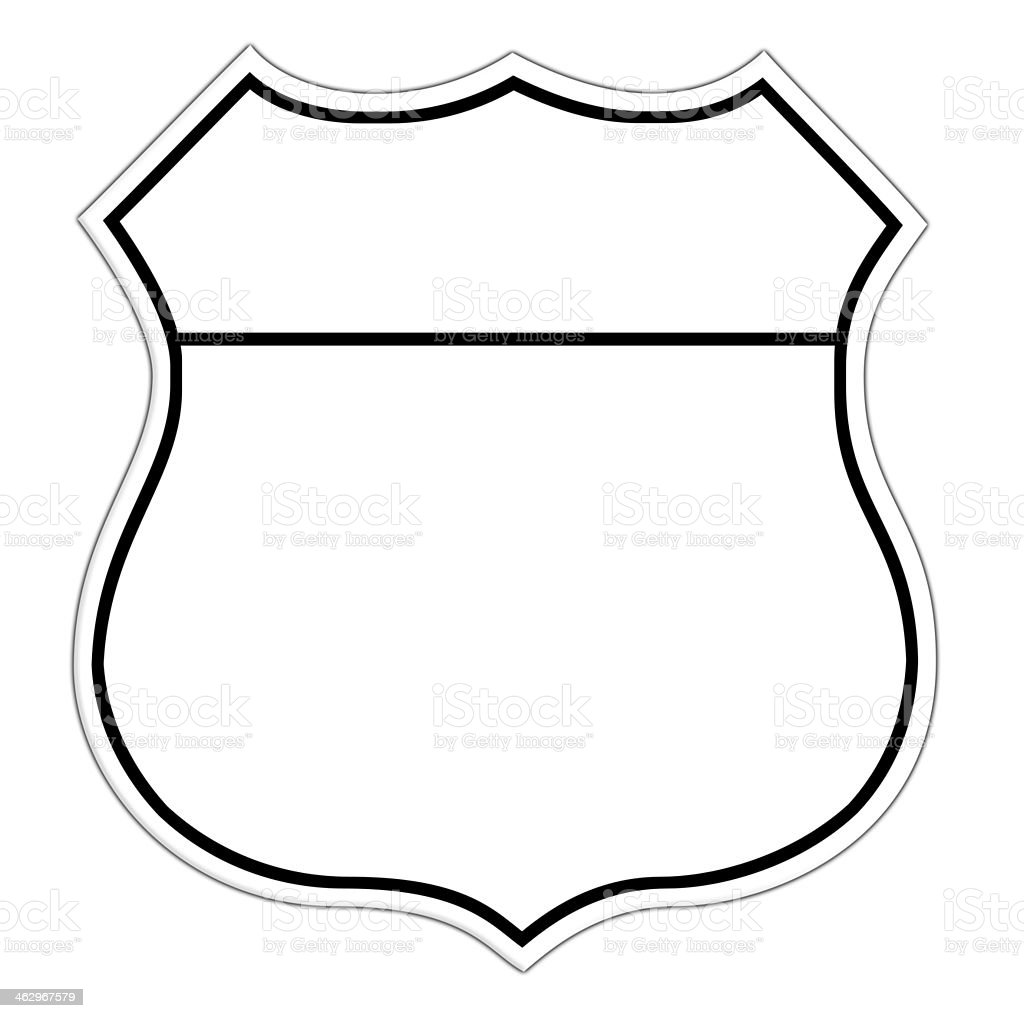 Line drawing of a blank route sign vector art illustration